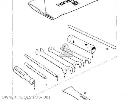Kawasaki Kv75a5 1976 parts list partsmanual partsfiche