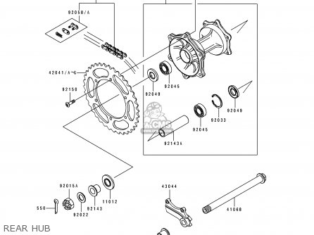 Kawasaki Kx125-h1 1990 Europe Uk Al As parts list