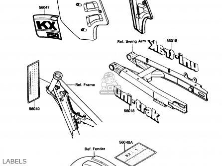 Kawasaki KX250-F1 1988 USA CANADA parts lists and schematics