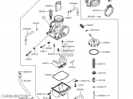 Kawasaki Kx250-j1 1992 Europe As parts list partsmanual