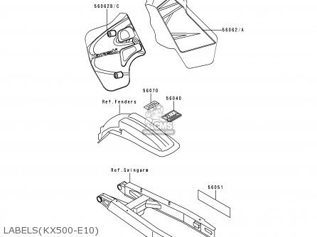 Kawasaki Kx500-e10 1998 Europe As parts list partsmanual