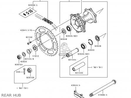 Kawasaki KX500-E2 1990 EUROPE UK AL AS parts lists and