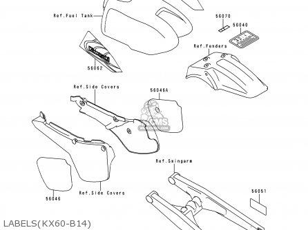 Kawasaki KX60-B14 1998 EUROPE AS parts lists and schematics