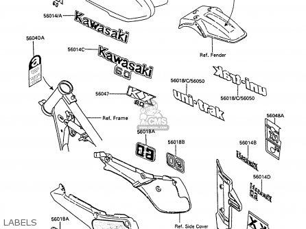 Kawasaki Kx60-b5 1989 United Kingdom parts list