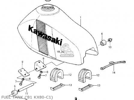 Kawasaki KX80-C2 KX80 1982 USA CANADA parts lists and