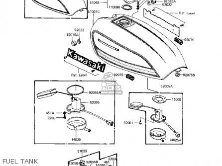 Kawasaki KZ1100A1 SHAFT 1981 USA CANADA parts lists and