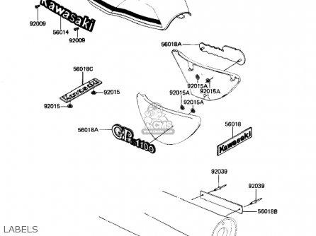 Kawasaki KZ1100B1 GPZ 1981 USA CANADA parts lists and