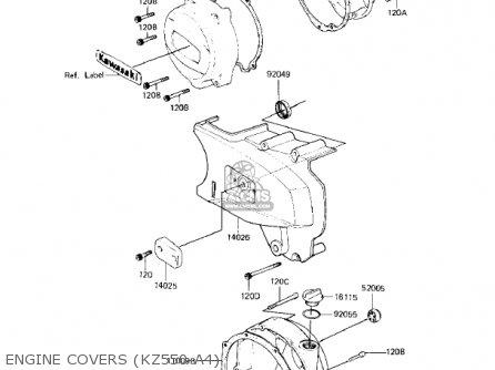 Kawasaki KZ550A1 1980 USA CANADA parts lists and schematics