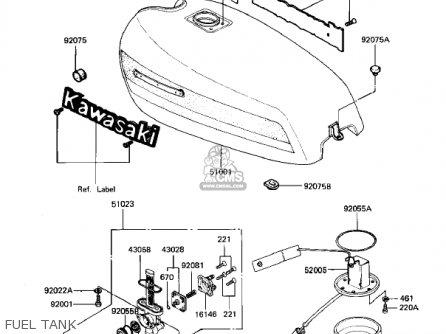 Kawasaki KZ550D1 GPZ 1981 USA CANADA parts lists and