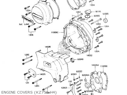 Kawasaki Kz750h1 1980 Usa Canada / Ltd parts list