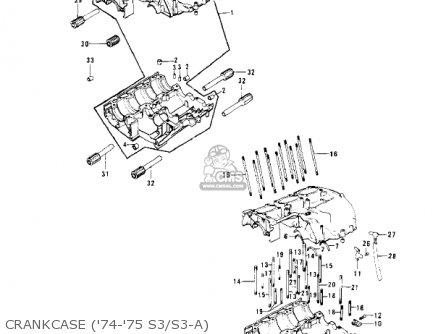 Kawasaki S3 MACH II 1974 USA CANADA parts lists and schematics