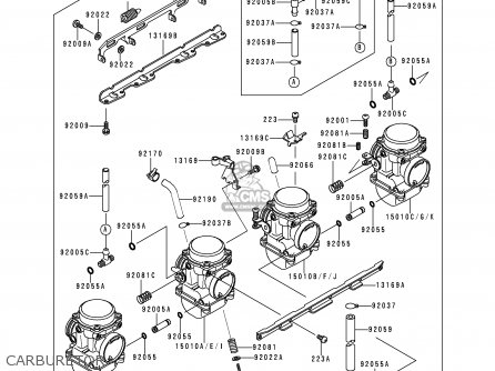 Kawasaki ZR550B4 ZEPHYR 1993 CANADA parts lists and schematics