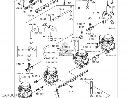 Kawasaki Zr750f2 Zr7 2000 Usa California parts list