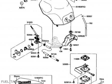 Kawasaki ZX1000B3 ZX10 1990 USA CALIFORNIA parts lists and