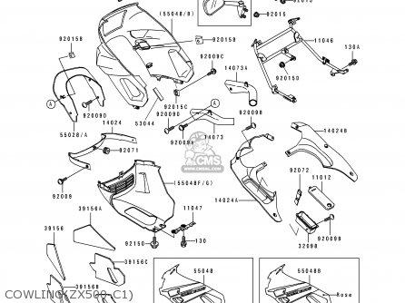 Kawasaki ZX500C1 ZZR500 1990 AUSTRIA NR parts lists and