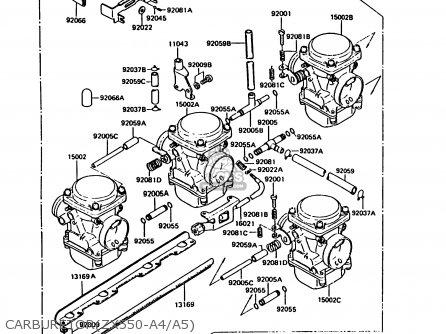 Kawasaki ZX550A4 GPZ550 1987 UNITED KINGDOM FG parts lists