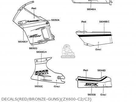 Kawasaki ZX600C3 GPX600R 1990 EUROPE UK FR FG parts lists