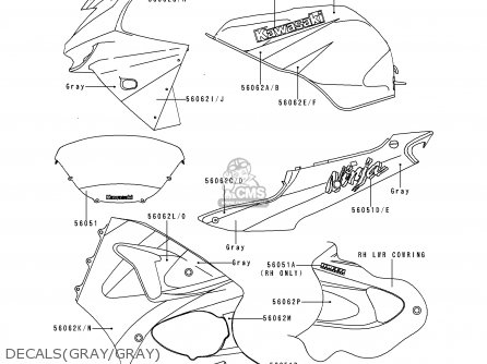 Kawasaki ZX600H2 NINJA ZX6R 1999 FG ST parts lists and