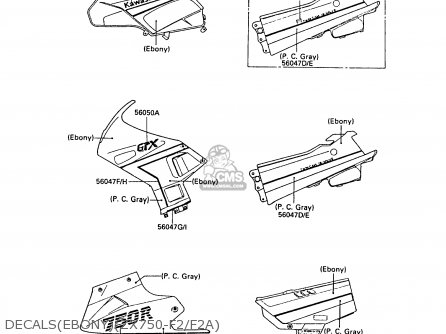 Kawasaki ZX750F2A GPX750R 1988 UNITED KINGDOM parts lists