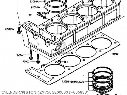 Kawasaki ZX750G2 1985 EUROPE UK FR GR IT NR SD parts lists