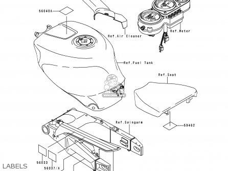 Kawasaki ZX750N2 NINJA ZX7RR 1997 CANADA parts lists and
