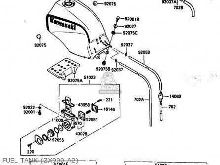 Kawasaki ZX900A2 1985 EUROPE UK FR GR IT NR SD parts lists