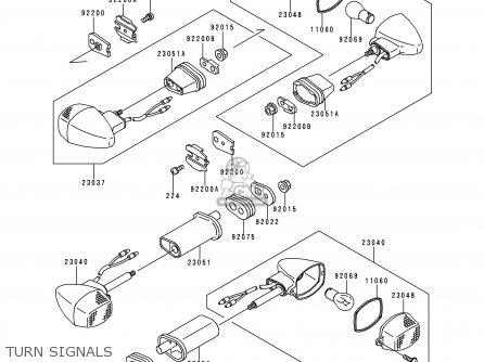 Kawasaki ZX900D1 NINJA ZX9R 1998 FG ST parts lists and