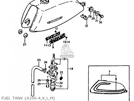 Suzuki A100 1975 (m) parts list partsmanual partsfiche
