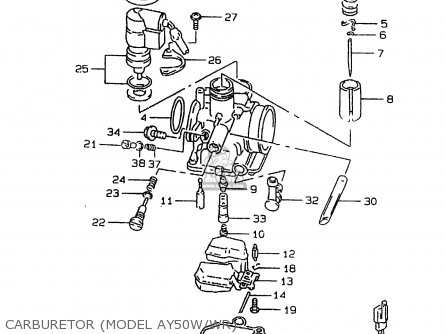 Suzuki Ay50 1999 (wx) parts list partsmanual partsfiche