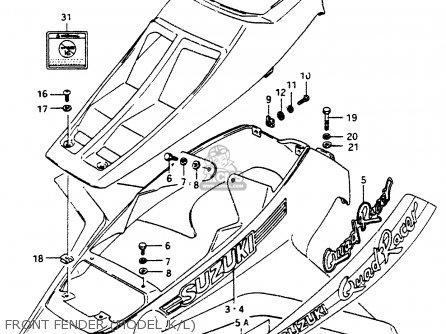 Suzuki LT500R 1988 (J) parts lists and schematics