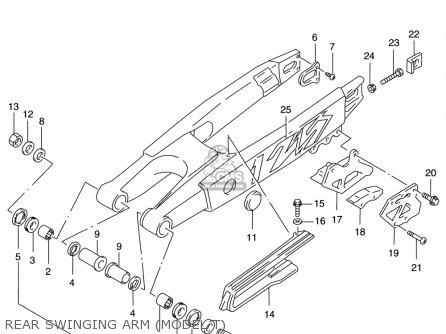 Suzuki RM125 1996 (T) USA (E03) parts lists and schematics