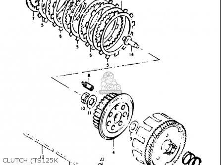 Suzuki TS125 1973 (K) USA (E03) parts lists and schematics