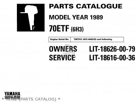 Yamaha 70etf 1989 parts list partsmanual partsfiche