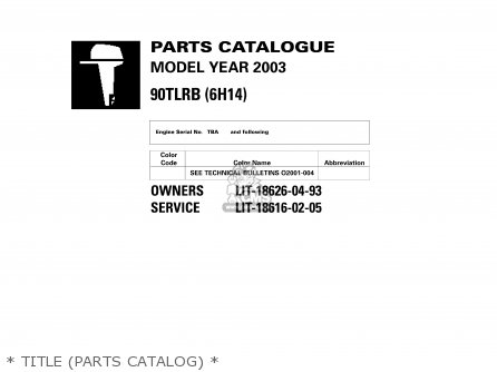 Yamaha 90TLRB 2003 parts lists and schematics