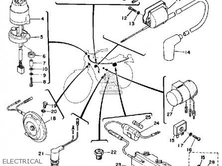 Yamaha Dt175b 1974/1975 parts list partsmanual partsfiche
