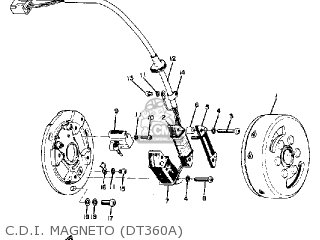 Yamaha Dt360a 1974 parts list partsmanual partsfiche