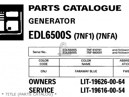 Yamaha EDL6500S 7NF1 7NFA GENERATOR 1998 parts lists and