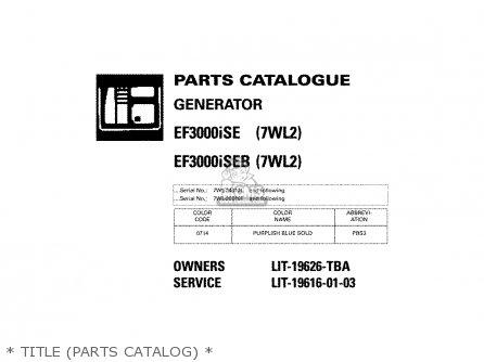 Yamaha EF3000ISE 7WL2 EF3000ISEB 7WL2 GENERATOR 2002 parts