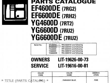 Yamaha EF4600DE EF6600DE YG4600D YG6600D YG6600DE