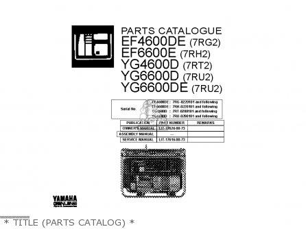 Yamaha EF4600DE EF6600DE YG4600D YG6600D YG6600DEX