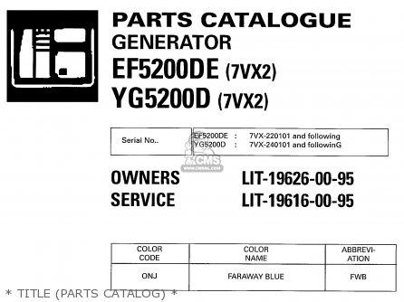 Yamaha Ef5200de 7vx2 Yg5200d 7vx2 Generator 2001 parts