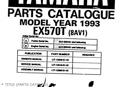 Yamaha Ex570t Exciter 1993 parts list partsmanual partsfiche