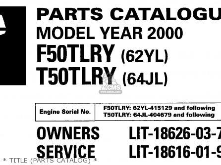 Yamaha F50/t50tlry 2000 parts list partsmanual partsfiche