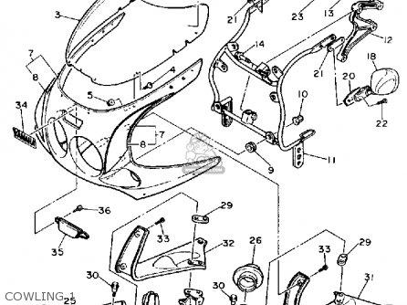 Yamaha Fzr1000 1990 (l) Usa parts list partsmanual partsfiche