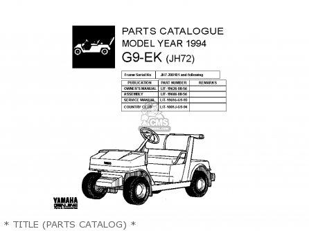Yamaha G9-ek 1994 parts list partsmanual partsfiche