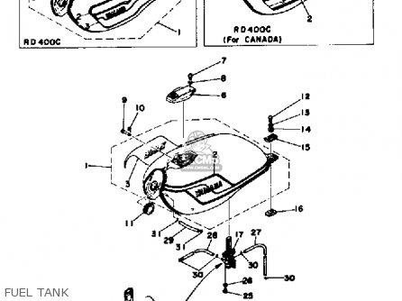 Yamaha RD400 1977 USA parts lists and schematics