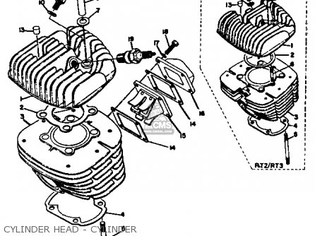 Yamaha Rt2 1972 Usa parts list partsmanual partsfiche