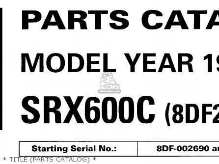 Yamaha Srx600c 1999 parts list partsmanual partsfiche