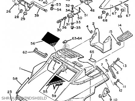 Yamaha VMX540H V-MAX 1984 parts lists and schematics