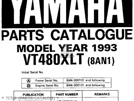 Yamaha VT480T VENTURE XL 1993 parts lists and schematics